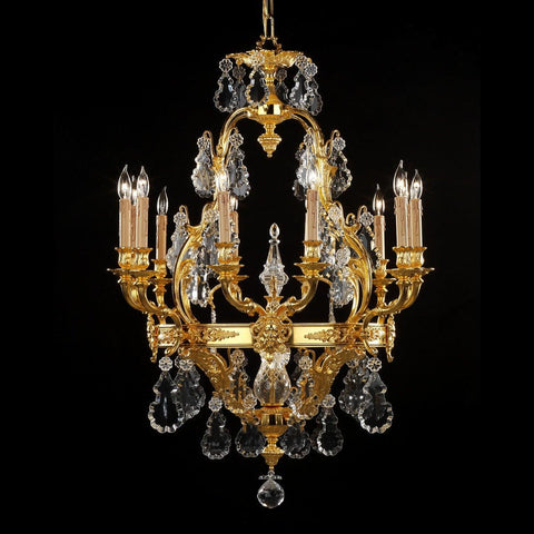 Crystal and cast brass twelve light chandelier LCC-720a