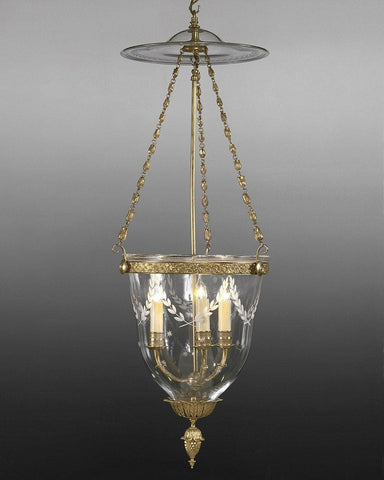 Bell Jar Lantern With Etched Leaves And Stars LL-47