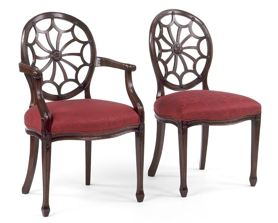 Superbe Chippendale Style Carved Wheel Back Arm Chair And Side Chair FSFI 24