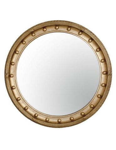 gold federal convex mirror with criss cross edge