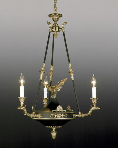 Cast brass and metal Federal eagle design three light chandelier LCFI-16