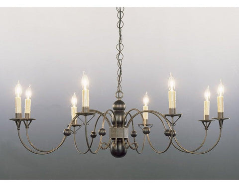 Distressed Black Painted Metal And Wood Chandelier LCHSC-5A