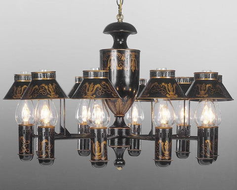 Tole with shades and glass hurricanes ten light chandelier LCFI-42