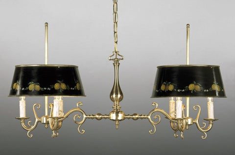 Brass and tole shade six light chandelier LCFI-41
