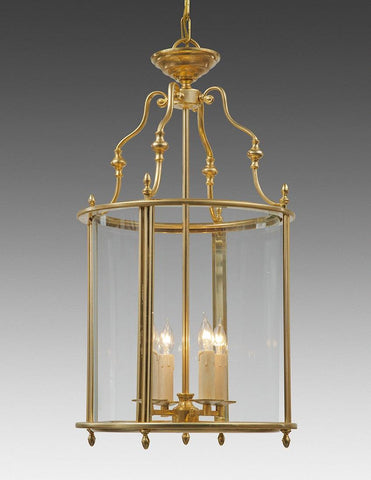 English Style Round Lantern in Natural Brass Finish LL-82