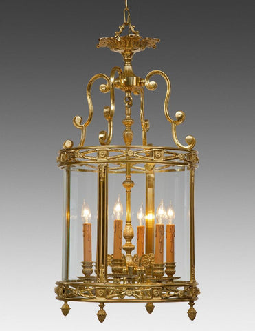 Decorated Cut Design Round Lantern With Acorn Finials LL-56