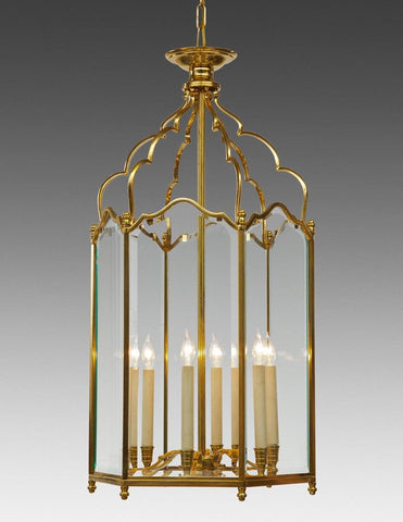 English Style Lantern Six Light With Beveled Glass LL-65