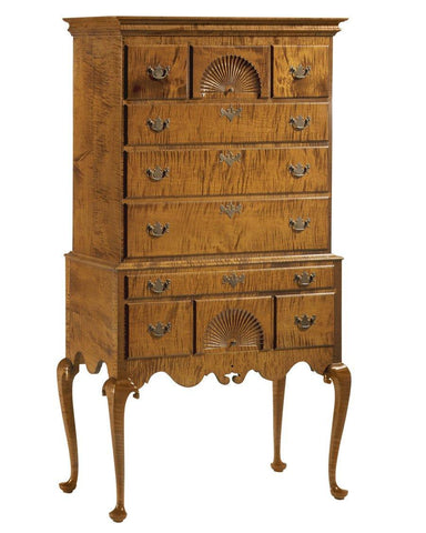 Queen Anne Style Flat Top Highboy With Two Carved Fans, Shaped Apron FCCH-7