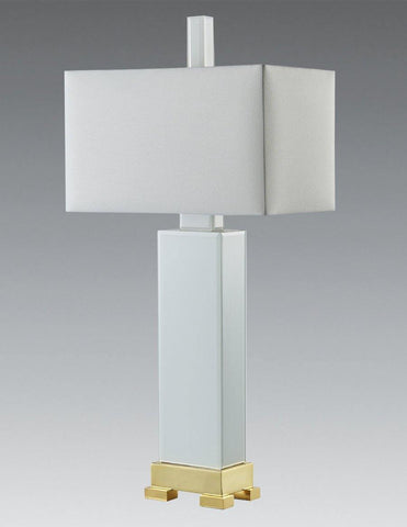 Rectangular Glass and Greek Style Base Table Lamp LTF-43