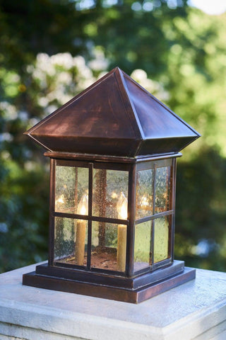 Column/Pier Mounted Lantern With Seeded Glass LECM-1
