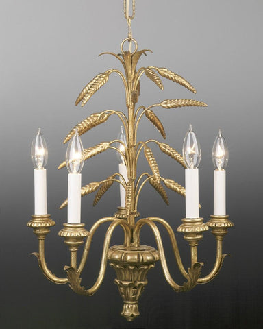 Metal and wood wheat design five light chandelier LCFI-30