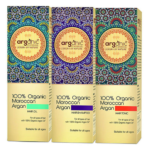 Arganic 100% Moroccan Hair oil, shampoo , Tonic Combo Pack 300ml