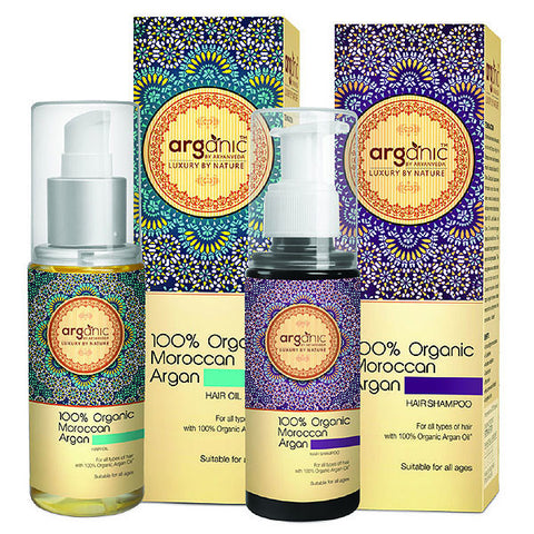 Arganic 100% Moroccan Argan Hair Oil & Shampoo Combo 200ml