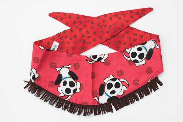 "Bandana || ""Happy Tails on Red/ Paws on Red"" Fringe Reversible Bandana by Frisco Paws"