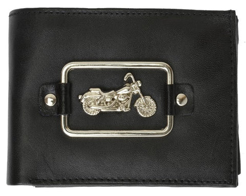 Genuine Leather Bi-Fold Man Biker Wallets