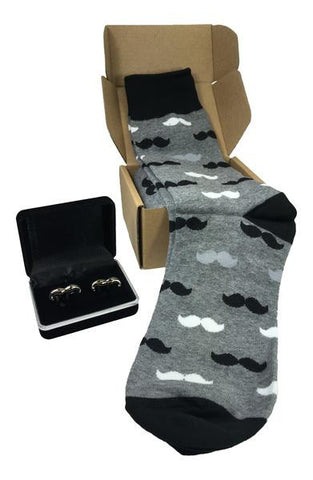 Men's Power Socks & Black Onyx Mustache Cufflinks