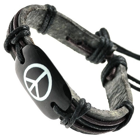 Peace Sign on Bone ID Leather Bracelet