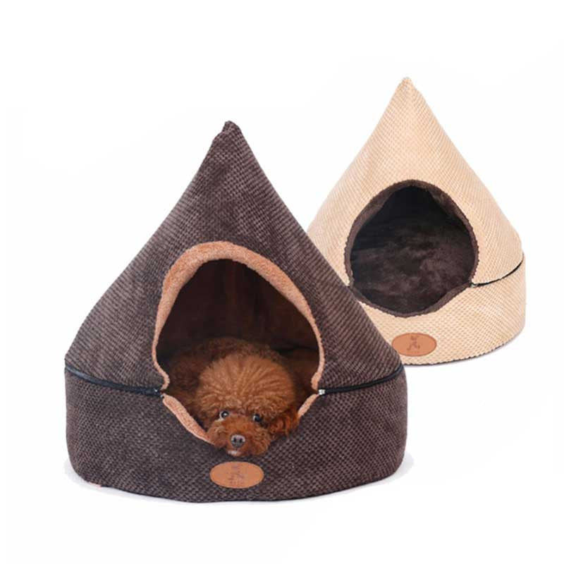 beige brown cozy dog cave house igloo dog bed pawsome market