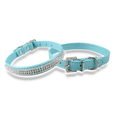 Blue Diva Dog Leather Rhinestone Dog & Cat Collar Pawsome Market