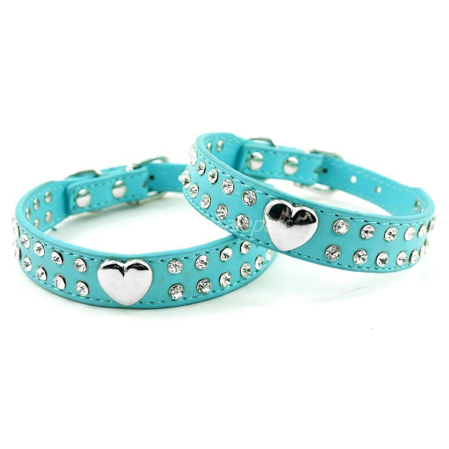 Heart Paws Double Diamond Encrusted Leather Dog & Cat Collar Pawsome Market