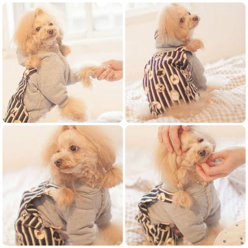 Buy Blue and white striped dog overalls grey dog shirt Pawsome Market