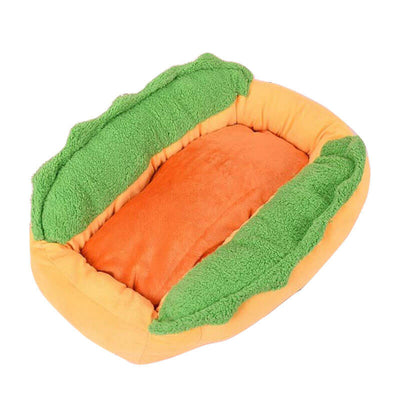 Orange and green Hot dog bed shaped like a bun for dachshunds wiener dogs Pawsome Market