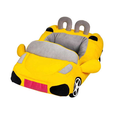 Sports Convertible Race Car Shaped Dog Bed in Sunny Yellow Pawsome Market.