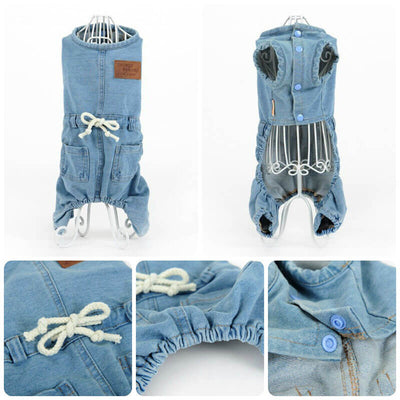 Close up Buy Cute Denim Dog Overalls Pawsome Market