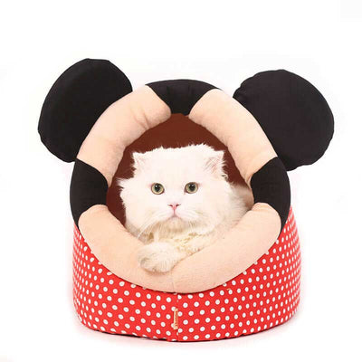 White Cat Lying Inside a Red Polka Dots Cat Cave Bed with cute mouse ears Pawsome Market