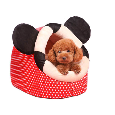 Toy Poodle Dog Lying Inside a Red Polka Dots Dog Cave Bed with cute mouse ears Pawsome Market