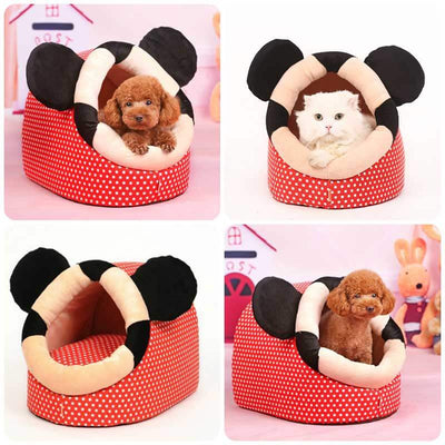 Red Polka Dots Dog Cave Bed with cute mouse ears shop on Pawsome Market