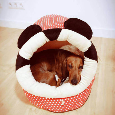 Dachshund Dog Lying Inside a Red Polka Dots Dog Cave Bed with cute mouse ears Pawsome Market