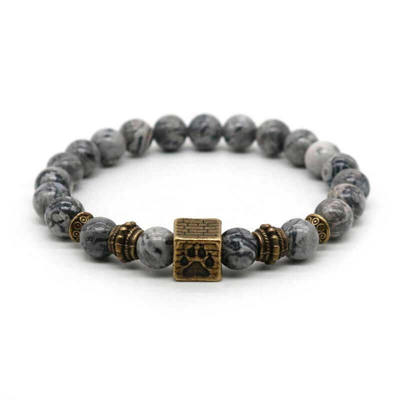 Dog Paw Print Cube Bronze Charm Men's Lava Beads Gemstone Yoga Bracelet by Pawsome Market