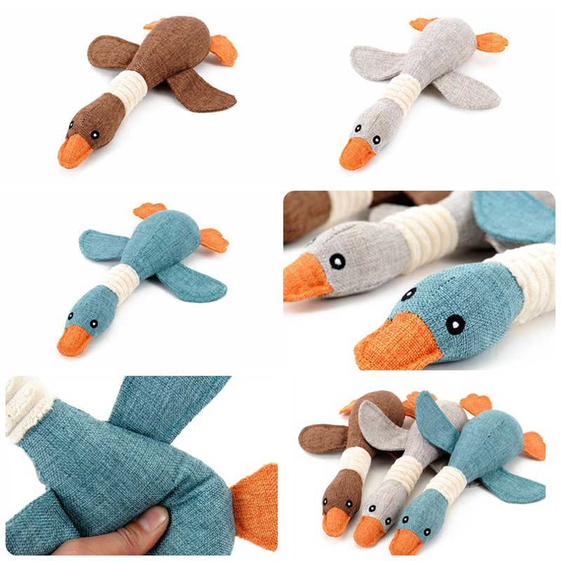 Brown Grey Blue Duck Squeak Dog Toy Pawsome Market.jpg