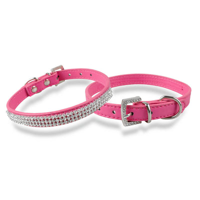 Hot Pink Diva Dog Leather Rhinestone Dog & Cat Collar Pawsome Market