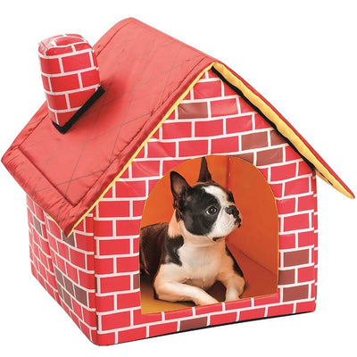 Boston Terrier Lying Inside an Indoor Dog House Bed With Red Brick Walls Cool Dog Beds on white background Pawsome Market