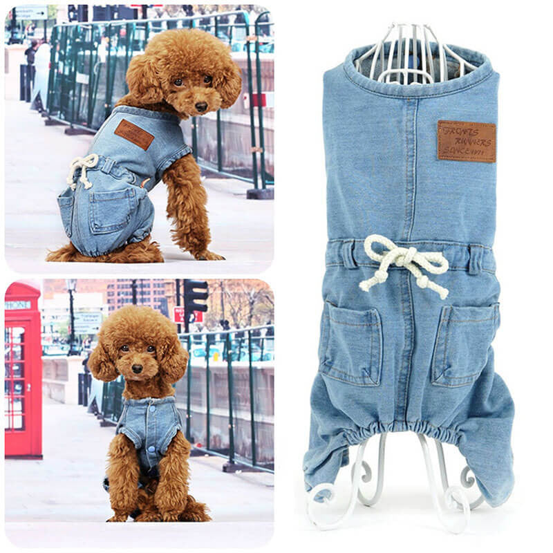 Modern dog outfits Buy cheap Denim Dog Overalls Pawsome Market Urban dog clothes