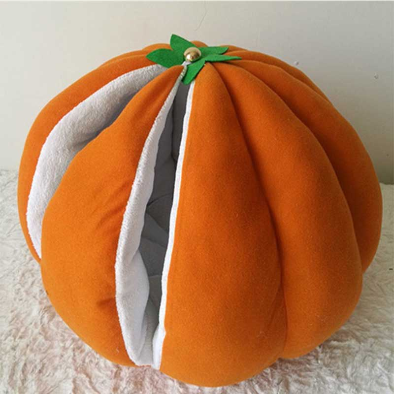Orange Pumpkin Halloween Cat kitten Bed Cave house