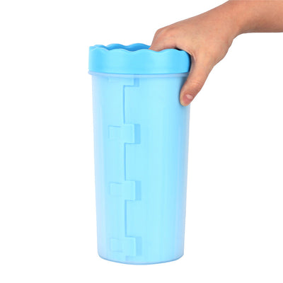 The best dog paw cleaning solution, Paw Wash™ Dog Paw Cleaner portable cup in blue color