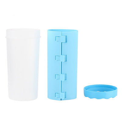 The best dog paw cleaning solution, elements of the Paw Wash™ Dog Paw Cleaner cup in blue color