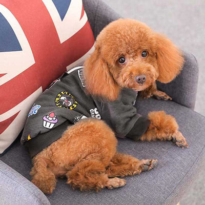 Pawsome Market Poodle Modern Hipster Fresh Paws Grey Padded Fleece Winter Dog Puppy Cat Pet Sweatshirt Hoodie Shirt