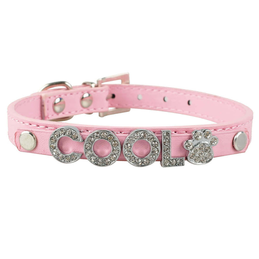 Buy Personalized Name Leather Rhinestone Cat Dog Collar Pawsome Market.jpg.jpg