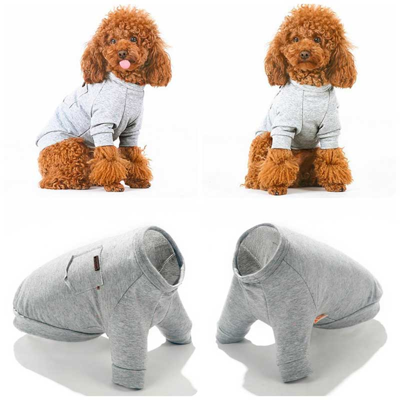 Dacshund Doxie wearing a Solid Grey Cotton Dog Shirt with a cute Front pocket, Pawsome market