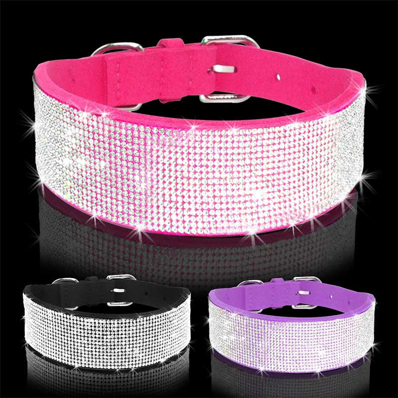 Premium Wide Rhinestone Velvet Dog Collar Puppy