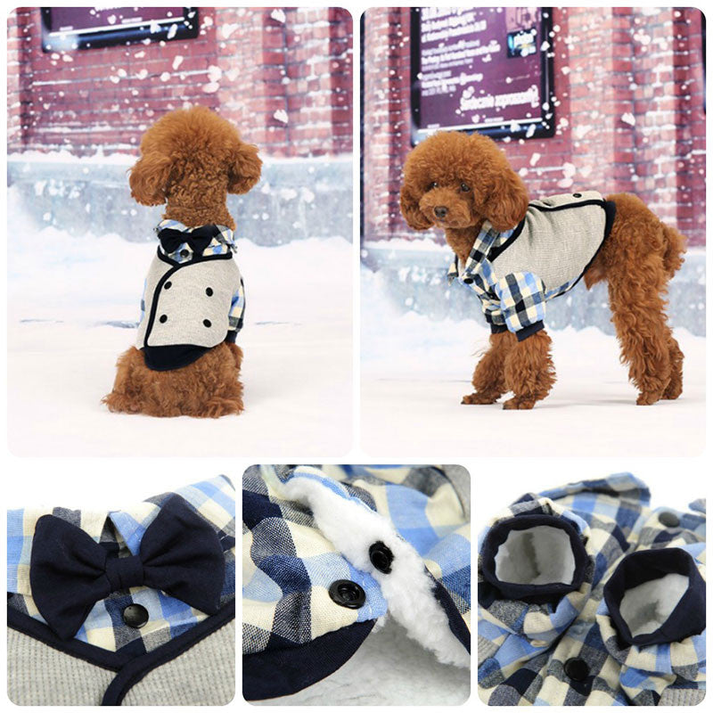 dog wedding outfits Dapper Gent Plaid Blue White Dog Shirt Pawsome Market