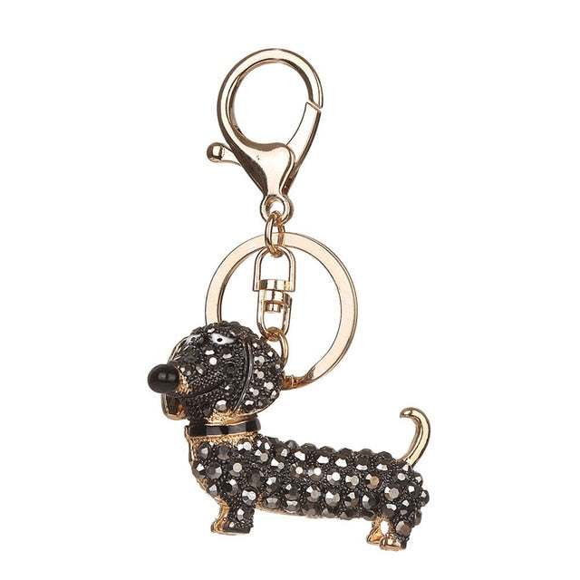 Gold Fancy Doxie Crystal Keychain