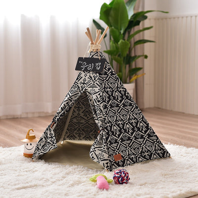 Black and White Pet Teepee - Tribal Chic