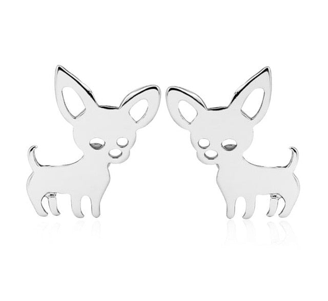 Dainty Chihuahua Earrings silver