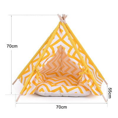 Yellow and White Pet Teepee - Sunny Chevron
