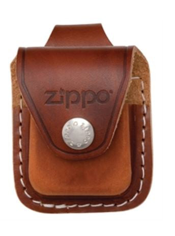 *Lighter Pouch Brown Leather Zippo Logo